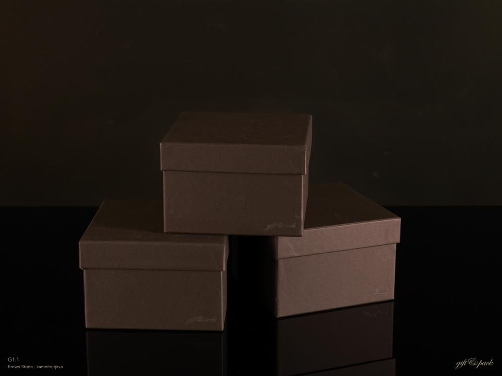 Darilna škatla G1.1 R150X150X100mm KAMNITO RJAVA